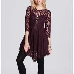 Free People Floral Mesh Long Sleeve Lace Dress NWT